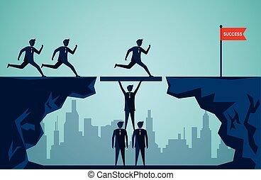 spinta, harmonious., scopo, idea., affari, uomini affari, illustrazione, lavorativo, concept., success., insieme, vettore, creativo, cartone animato, lavoro squadra, organizzazione