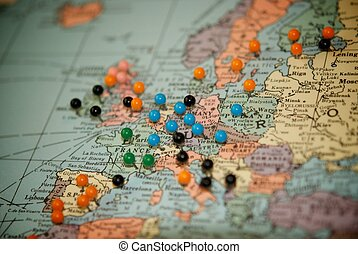 spinta, mappa, viaggiare, pins-paris