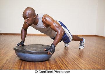spinta, muscolare, palestra, ups, uomo