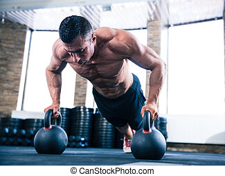 spinta, palestra, ups, muscolare, uomo