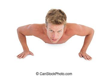 spinta, uomo, shirtless, ups