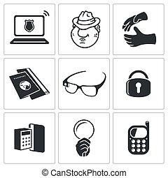 spionere, vektor, sæt, ikon