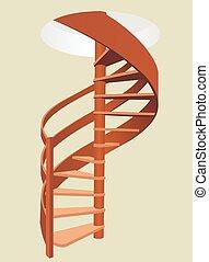 spirál, fából való, vektor, lépcsőház, illustration., fence.