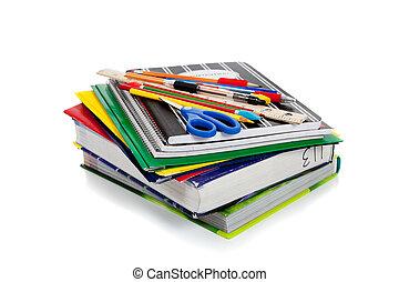 spirál, jegyzetfüzet, noha, iskola ellátmány, on tető