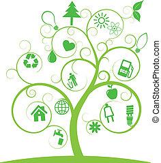 spiraal, boompje, met, ecologie, symbolen