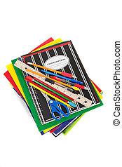 spiraal, notitieboekjes, met, schoolbenodigdheden, op bovenkant