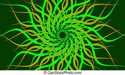 spiraal, patterned, kleurrijke, ronddraaien, abstract, groene, golven, achtergrond.