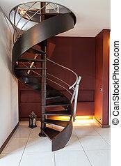 spiraal trappen, in, een, moderne, luxe, woning