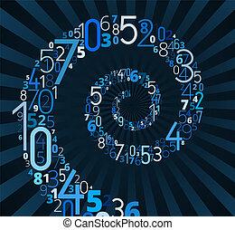 spiraal, vector, lettertype, van, getallen
