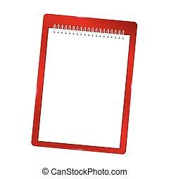 spiraalvormig notitieboekje, vector, illustratie, leeg, rood