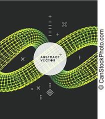 Spiral. 3d Vector Illustration. Wireframe Connection...