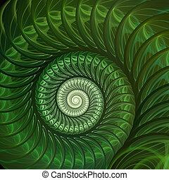 spiral., abstratos, concha, fractal, fundo