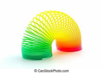 spiral., arco íris, fio, colorido