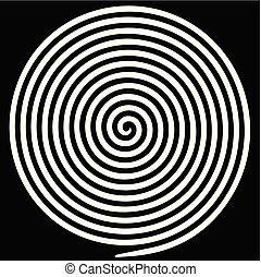 spiral., astratto, ipnotico, vortice, bianco, rotondo