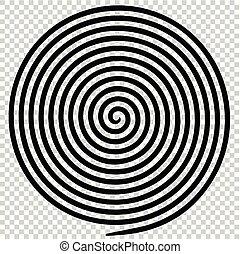 spiral., astratto, ipnotico, vortice, nero, rotondo