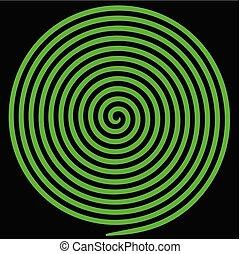 spiral., astratto, ipnotico, vortice, verde, rotondo