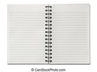 spiral, bakgrund, isolerat, tom, anteckningsbok, vit