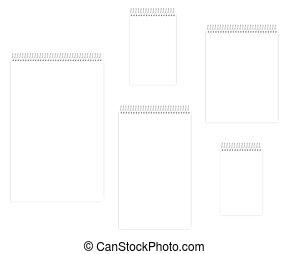 Spiral blank notebook set - letter, half letter, legal, junior legal, ledger