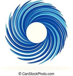Spiral blue waves identity card icon logo
