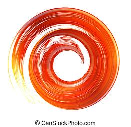 spiral brush stroke orange 3d rendering