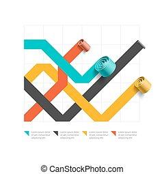 Spiral business line chart template