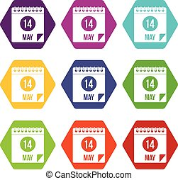 Spiral calendar page 14th of May icon set color hexahedron