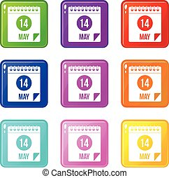 Spiral calendar page 14th of May icons 9 set