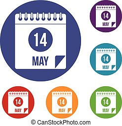 Spiral calendar page 14th of May icons set