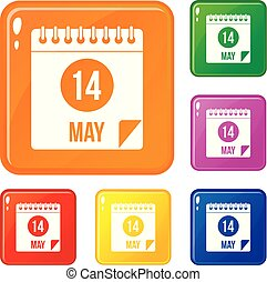 Spiral calendar page 14th of May icons set vector color