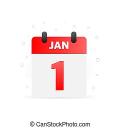 Spiral calendar page with single day. 1st of January. Round icon with shadow