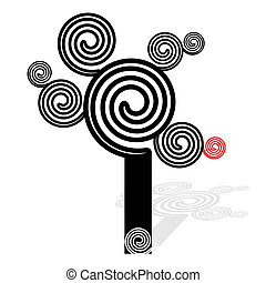 Spiral coil tree, black and white - vector illustration