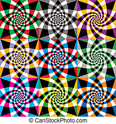 Spiral colorful whirls seamless pattern, vector design.