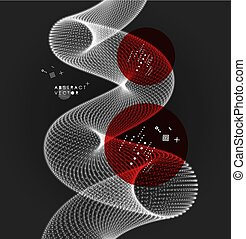 Spiral. Connection Structure. Abstract grid design. 3d...