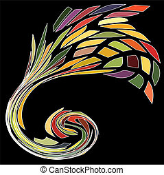 Spiral contemporary gold ornament colorful - Fireworks...