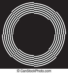 Black on white frame with copy space, circle spiral design illusion border pattern. EPS8 compatible.