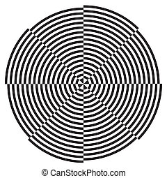 Black on white circle spiral design background illusion pattern. ES8 compatible.