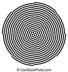 Spiral Design Illusion Pattern - Black on white circle...