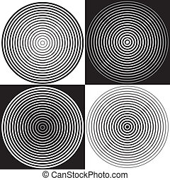 Four ascending and descending concentric abstract spiral design background patterns in black and white. EPS8 compatible.