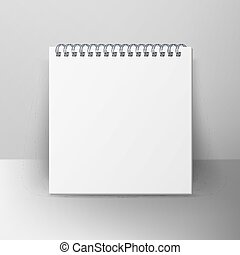 Spiral Empty Notepad Blank Mockup. Template For Advertising...