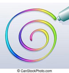 spiral, färgrik