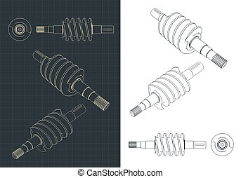 Stylized vector illustration of spiral screw drawings