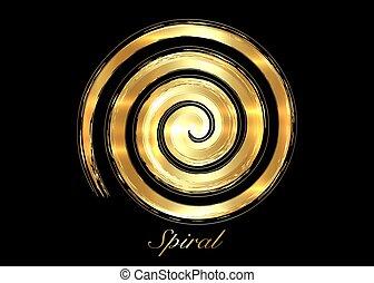 spiral., fertilité, pouvoirs, fin, divin, rapresent, ancien, jamais, déesse, ceci, wiccan, illustration, symbole., noir, féminin, cercle, creation., isolé, créatif, or, vecteur, doré