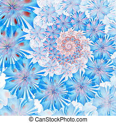 Spiral flower background. Blue palette. Computer generated...