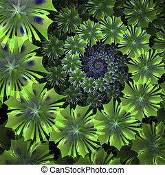 Spiral flower background. Green palette. Computer generated...