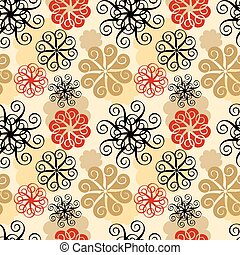 Spiral Flower Pattern in Beige