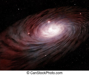 spiral galaxy and glowing stars in outer space
