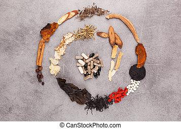 spiral, gjord, av, olik, kinesisk, herbs.
