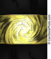 Spiral gold background with a black edges. Design template