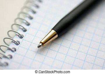Spiral handbook - Spiral checkered white handbook and pen...