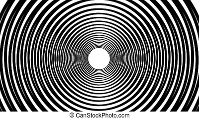Spiral hypnotic animation. Black and white looping....